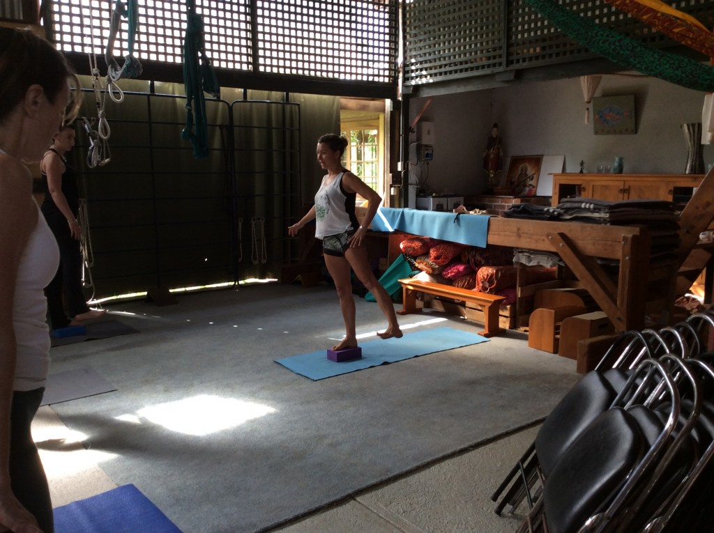 Vrksasana prep to hold hip